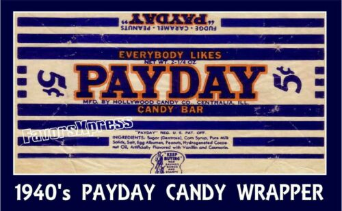 """VINTAGE 1940/'s PAYDAY CANDY BAR Photo MAGNET 4x2.5/"""" thin-flexible"""