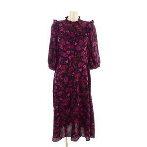 Zara Kleid Dress Knopfleiste Flower Geblumt Midi Kleid Schwarz Pink Rot Gr S 36 Ebay