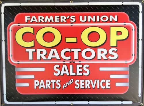CO-OP FARMERS TRACTORS DEALER REMAKE NEON EFFECT PRINTED BANNER SIGN ART 4/' X 3/'