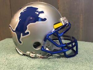 huge discount d1e63 4959b Details about Barry Sanders Autographed Lions Custom Mini Helmet, Blue  Chrome facemask/visor!