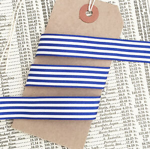 Navy Blue and White Nautical Stripe Ribbon 25mm Per 1M or *SAVE* with 25M roll