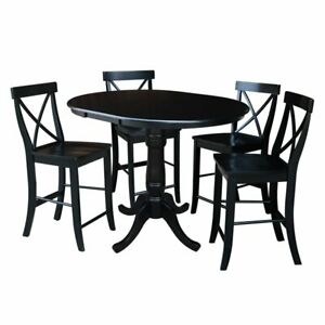 Phenomenal Details About 36 Round Extension Dining Table 34 9H With 4 X Back Counter Height Stools Cjindustries Chair Design For Home Cjindustriesco