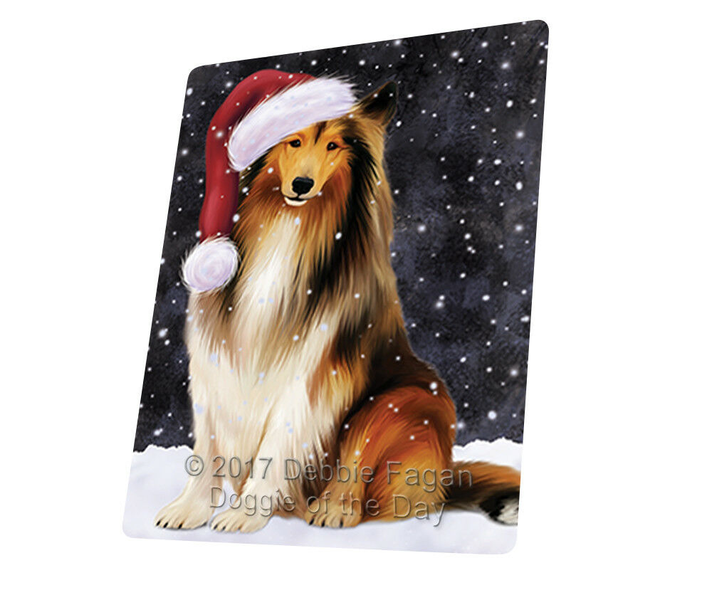 Let it Snow Christmas Holiday Rough Collie Dog Woven Throw Sherpa Blanket T27