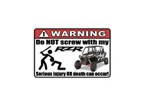 WARNING: Funny Decal/Sticker for RZR lovers XP4 1000 Car/Truck/Home/ATV/UTV (3)
