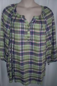 Catherines women/'s plus Plaid Embroidered Peasant Top 3//4 Sleeves  5X NEW