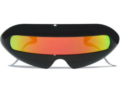 Cyclops Robot Alien Mirror Lens Sunglasses Shield Mirrored Color Lens Costume