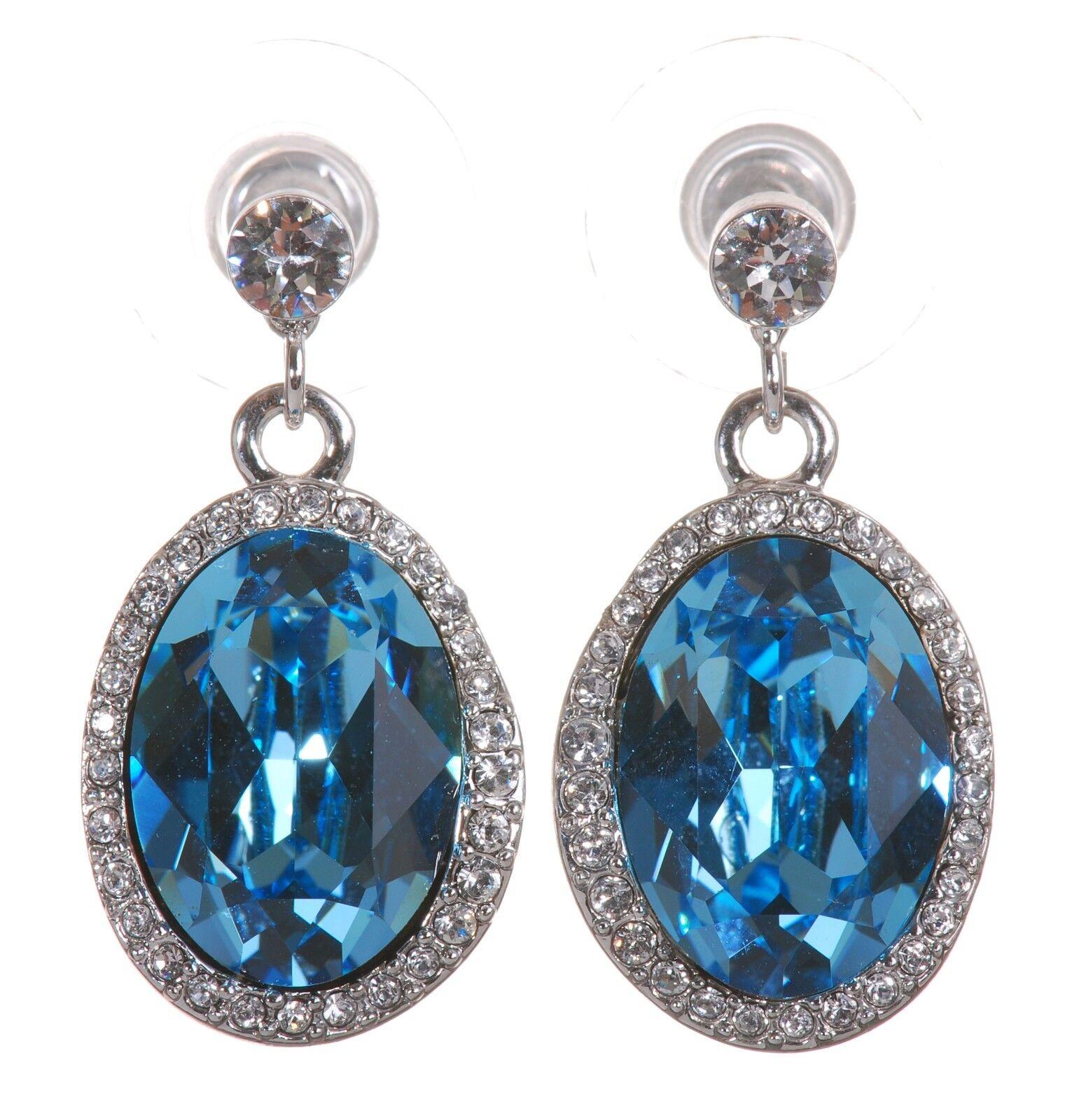 Swarovski Elements Crystal Calista Oval Halo Earrings Rhodium Authentic 7268u
