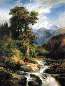 Large Oil painting Thomas Moran - Solitude nice landscape & old trees stream 36""