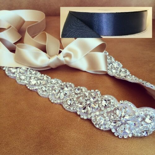 "Wedding Sash Belt Bridal Sash Belt Crystal Sash Belt = 19/"" long in NAVY sash"