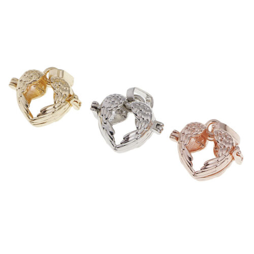 3x Heart Shape Alloy Pearl Bead Cage Pendant Locket Charms Jewelry Findings