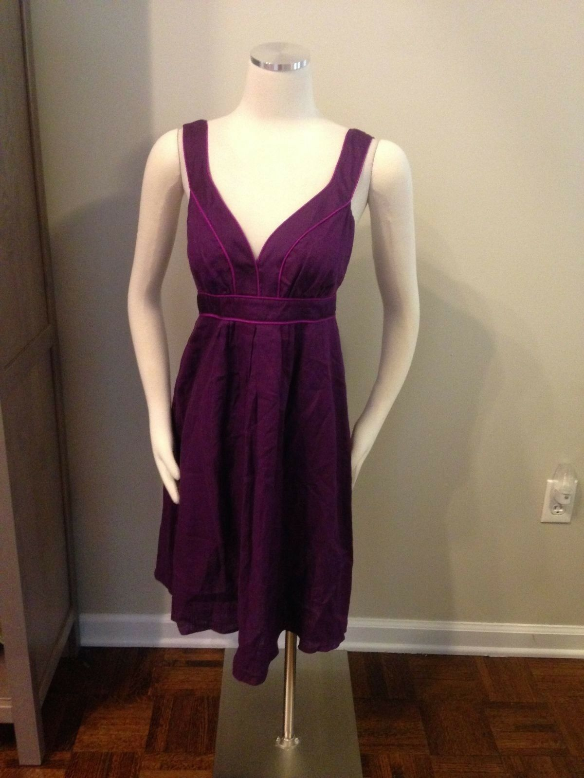 Banana Republic Plum Purple V Neck 100% Linen Dress Excellent 6