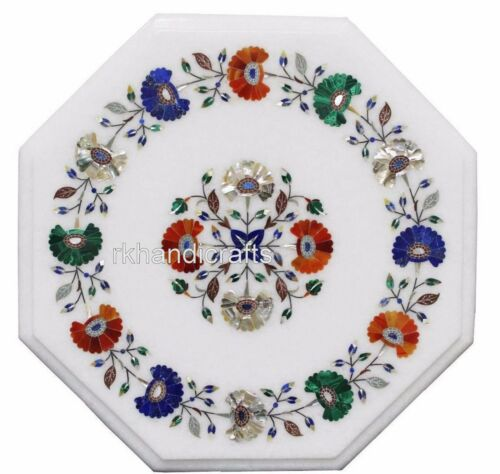 16 Inches Marble Bed Side Table Top Inlay Coffee Table with Shiny Gemstones Work