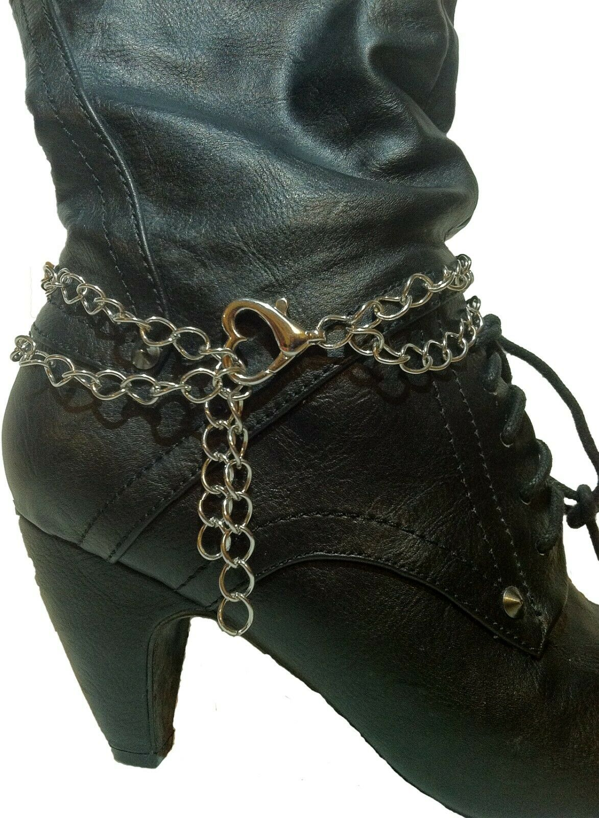 Handmade Silver Motorcycle Biker Double Chain Boot Chain with Heart Clasp