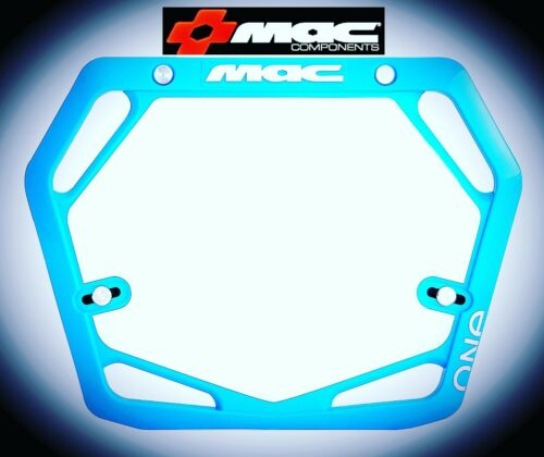 MAC One Race Mode Pro BMX Number Plate Cyan Blue