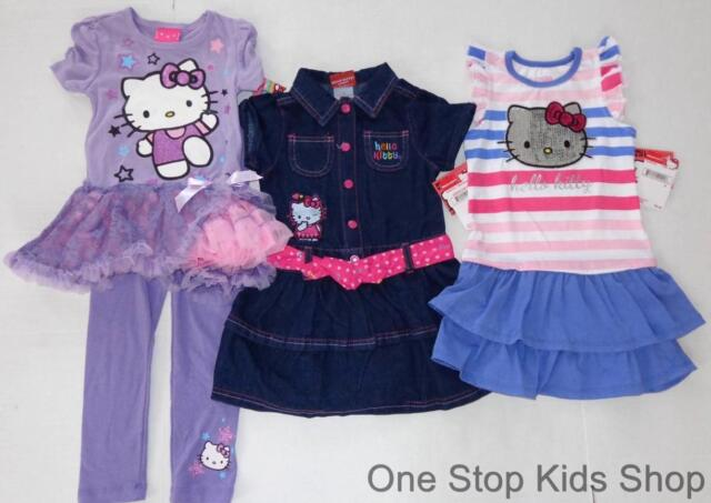 HELLO KITTY Girls 2T 3T 4T 4 5 6 6X 7 8 10 12 14 16 Tunic Set OUTFIT or DRESS