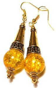 Lunghi ORECCHINI IN ORO GIALLO GOCCIA Dangle Crackle Glass Bead ARTIGIANALE Boho Chic Retrò