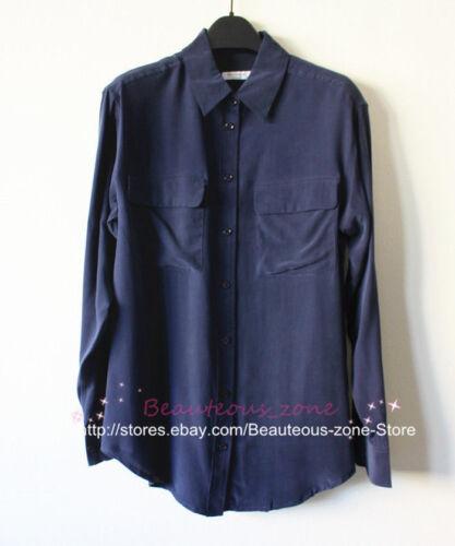 """Peacoat Black New Authentic Equipment /""""Signature/"""" Silk Blouse"""