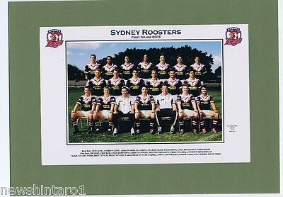 2003  SYDNEY ROOSTERS  RUGBY LEAGUE TEAM PICTURE ON GREEN CARDBOARD BACKING