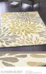 Origines-Pure-100-Luxe-Laine-Fleur-Rafale-Tapis-Jaune-Gris-Neuf-Tailles-differentes