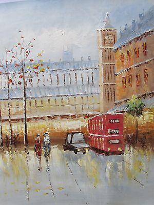 London England large oil painting cityscape original British Europe city scape