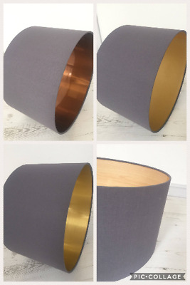 Lampshade in grey fabric and choice of lining colours, copper, gold, wood veneer