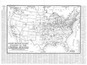 1924 Radio Station Map Denver Colorado Springs Boulder Gunnison