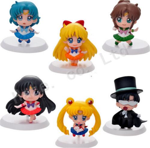 6Pcs//Set Anime Cartoon Sailor Moon 5 cm//2 inch PVC Complete Figure Lot Toys