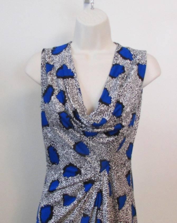 Diane von von von Furstenberg Noe Cheetah Island bluee Diamond dress 10 leopard scoop DVF afd228