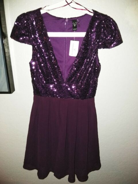 8bcfba753eee Windsor Small Purple Sequin Dress Plunging Neckline for sale online ...