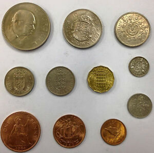 BRITISH-PRE-DECIMAL-COIN-COLLECTION-CROWN-TO-FARTHING-Plus-SILVER-Three-Pence
