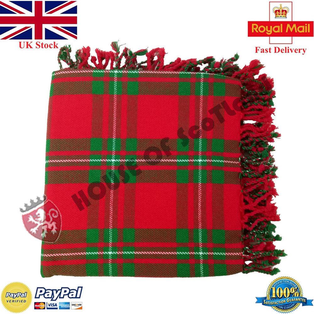 HS Scottish Kilt Fly Plaid Mcgregor Tartan Acrylic Wool 48