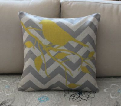 Grey Zigzag Yellow Bird Branch Cotton Linen Cushion Cover Throw Pillow Decor 643