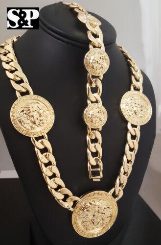 Men's Iced out Medusa Head 5 Medallion Cuban Link Chain Necklace & Bracelet Set
