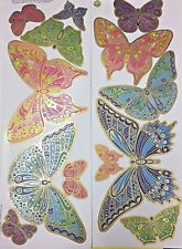 BUTTERFLIES Colorful with Gold Metallic wall stickers 13 decals wall decor teen