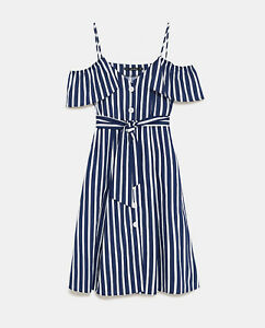New Nwt Zara Navy Blue White Striped Jumpsuit Midi Dress Stripe S