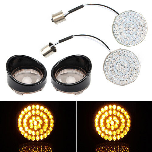 """2/"""" 1156 Rear LED Turn Signal Insert Light Board with Bezel Lens Fit For Harley"""