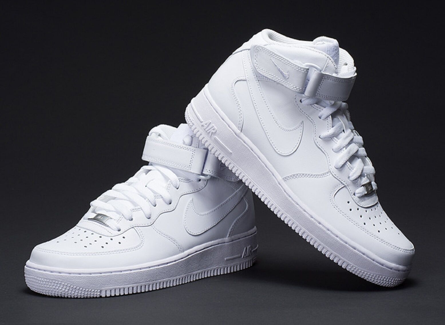 NIKE Men's  NIKE AIR FORCE 1 MID SNEAKERS LIFESTYLE SHOES WHITE