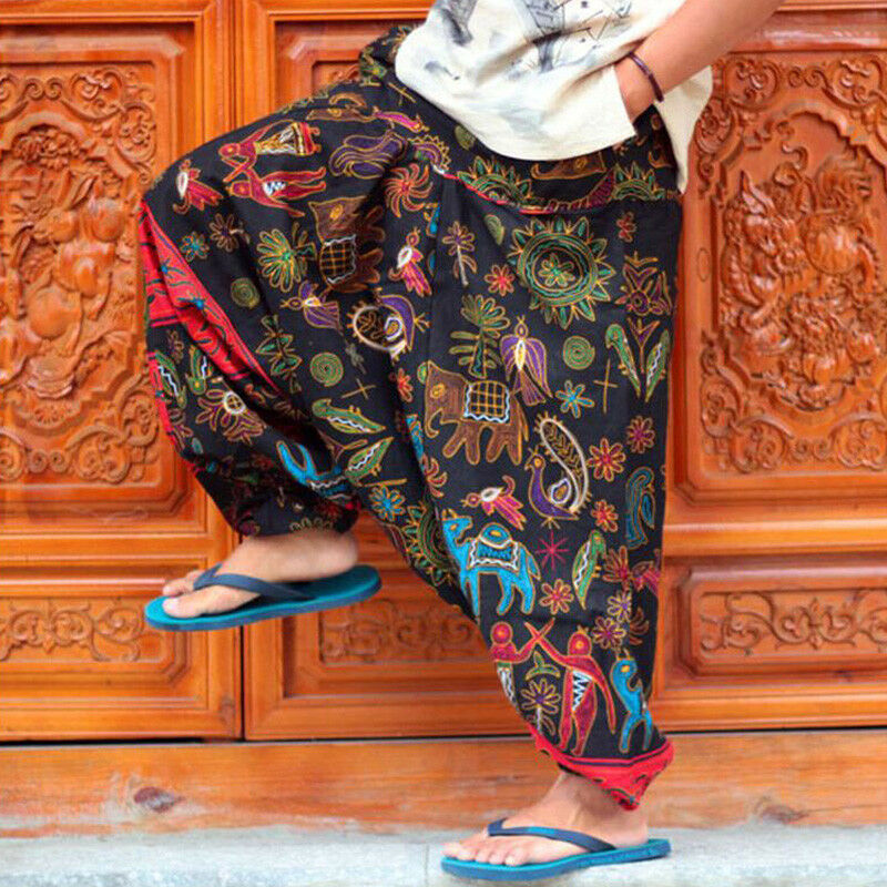 Mens Vintage Hippy Boho Harem hippie pants Wide leg Ninja Pants Trousers Plus SZ