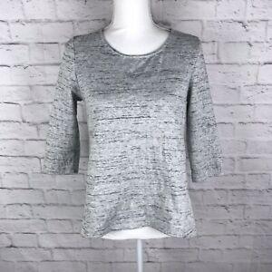 W5-Anthropologie-Womens-Gray-Size-Medium-Crew-Neck-3-4-Sleeve-Cotton-Blend-Top
