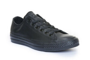 393d21e0965d Converse All Star Low Chuck Taylor Leather Black Mono Trainers ...