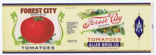 Omaha Nebraska can label Allen Bros tomatoes Co Forest City