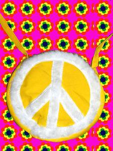 A305✪ 60er 70er Jahre Flokati Peace Zeichen Tasche Festival Hippie gelb weiß