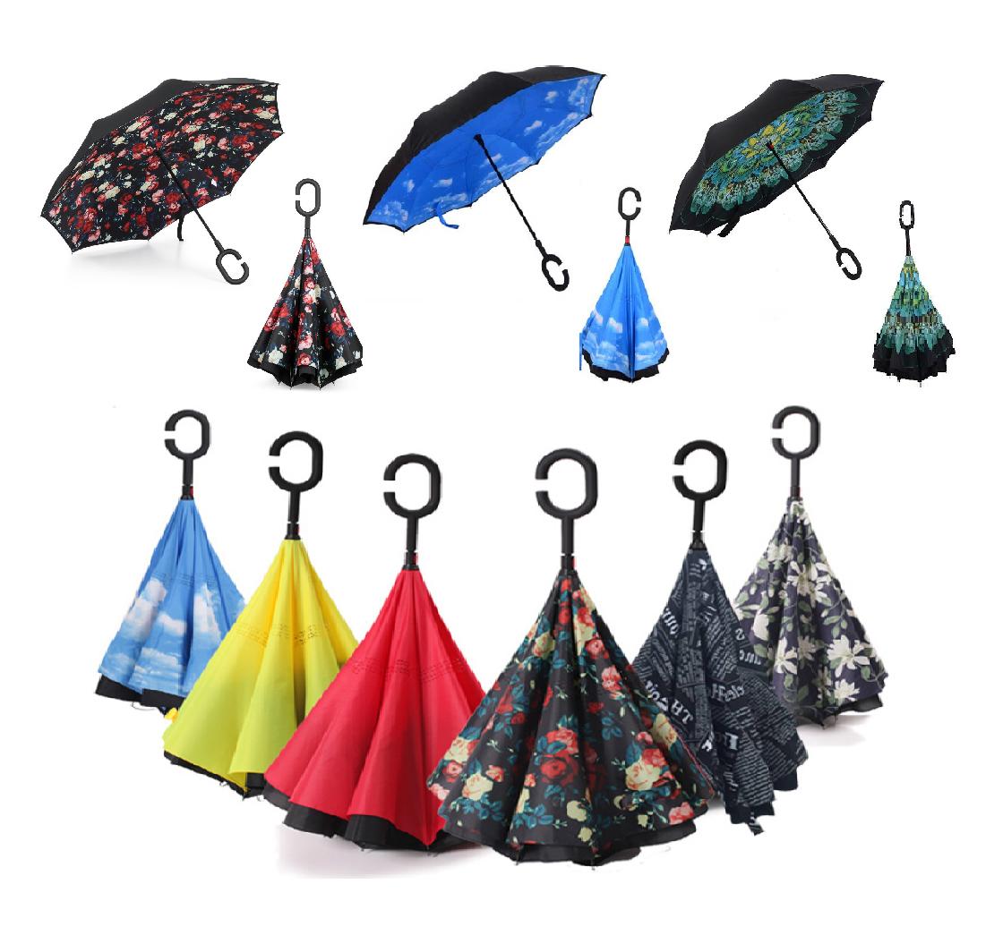 Double Layer C-Handle Upside Down Waterproof Reverse Umbrella Christmas Gift UK