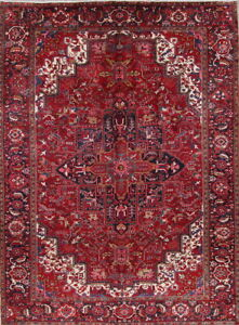 Vintage-Geometric-Red-Heriz-Oriental-Hand-Knotted-10x13-Wool-Area-Rug