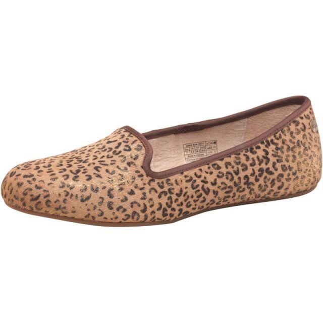 UGG Australia Alloway da Donna Metallico Leopardo vitello capelli Pantofole, taglia UK4, EU37