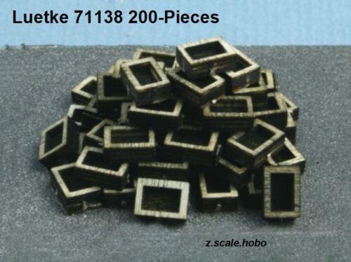 200 pcs Laser Cut Kit NEW Luetke 71138 Z Scale Small Wood Boxes//Crates Storage
