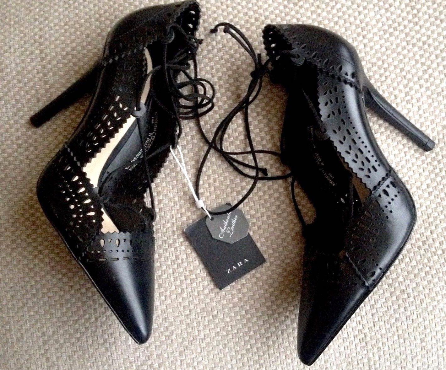 � ZARA Schuhe BLACK GENUINE LEATHER HIGH HEEL POINTED COURT Schuhe ZARA ANKLE Stiefel NEW 6880f7