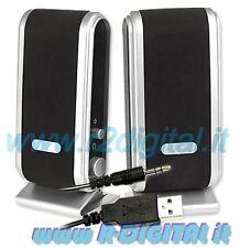 CASSE per NOTEBOOK USB ALTOPARLANTI COMPUTER PC AUDIO 2.0 S2030 MP3 MP4 IPOD