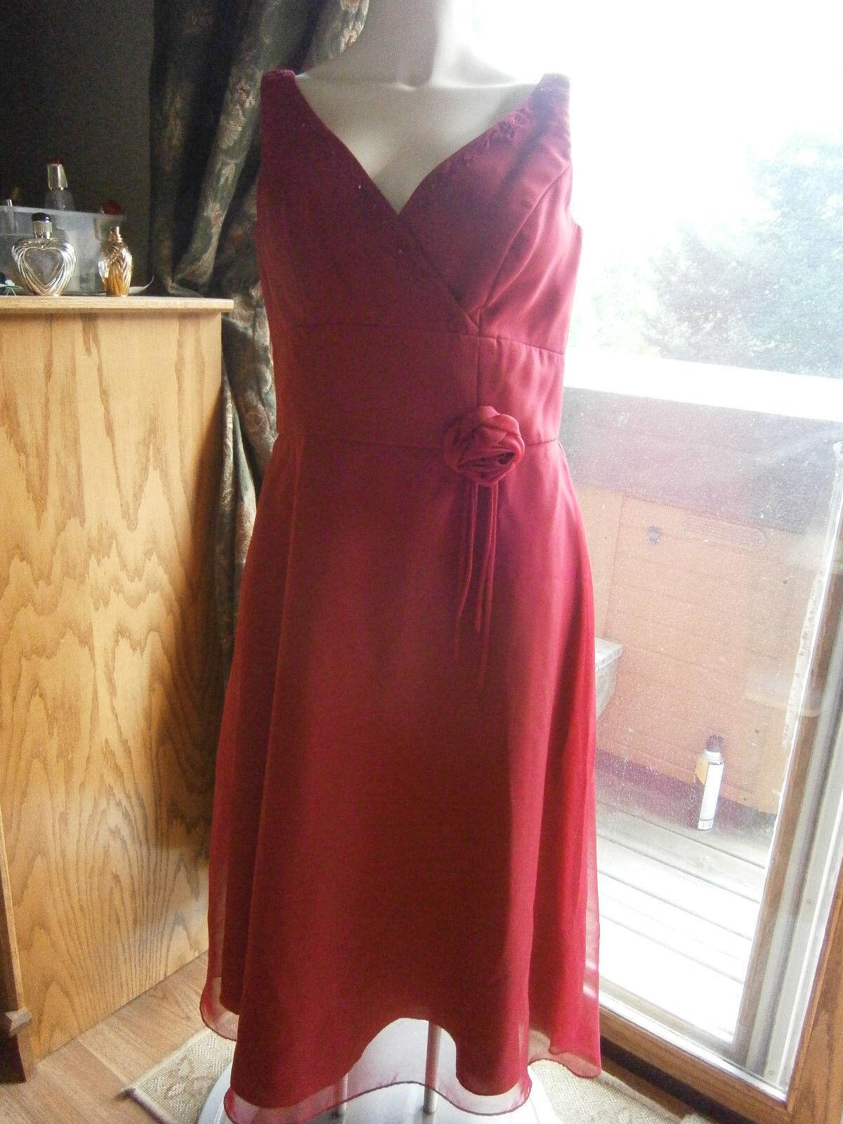 Woherren Größe 11 12 15 16 Formal Wear Garnet Cocktail Bridesmaid Tea Length Dress