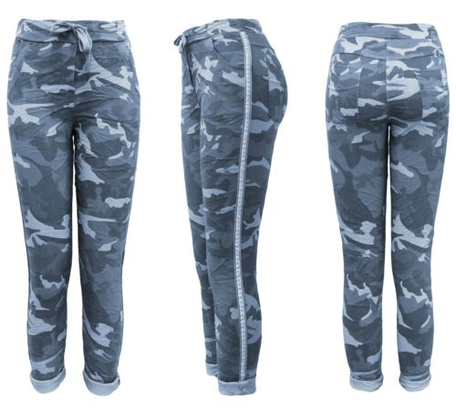 Kordelzug Damenhose Gummibund Military Jeanshose Stretchjeans Army-Look